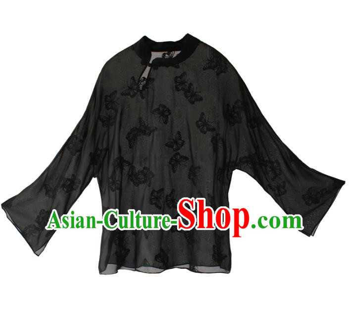Asian China National Costume Black Silk Hanfu Blouse, Traditional Chinese Tang Suit Cheongsam Shirts Upper Outer Garment Clothing for Women