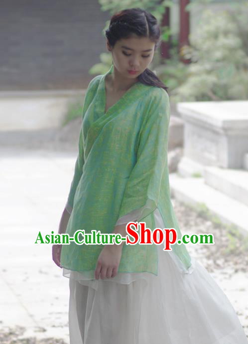 Asian China National Costume Slant Opening Green Hanfu Printing Blouse, Traditional Chinese Tang Suit Cheongsam Shirts Upper Outer Garment Clothing for Women