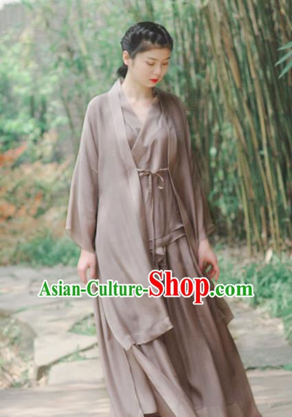 Asian China National Costume Grey Silk Hanfu Dress, Traditional Chinese Tang Suit Cheongsam Clothing for Women