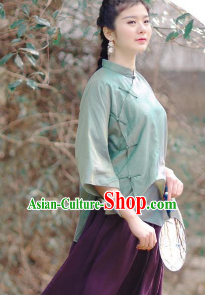 Asian China National Costume Slant Opening Green Silk Hanfu Qipao Shirts, Traditional Chinese Tang Suit Cheongsam Blouse Clothing for Women