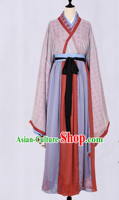Asian China Jin Dynasty Swordsman Printing Clothing Complete Set, Traditional Ancient Chinese Palace Lady Elegant Hanfu Costume for Women