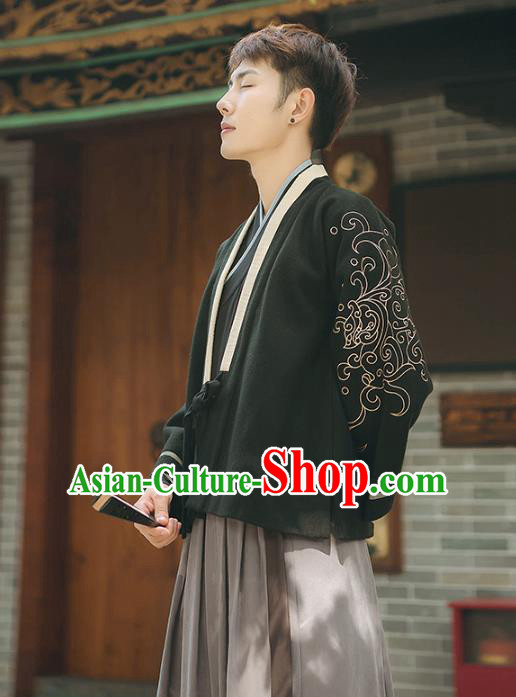 Asian China Ming Dynasty Embroidered Beizi Black Blouse, Traditional Ancient Chinese Elegant Hanfu Tang Suit Clothing for Men