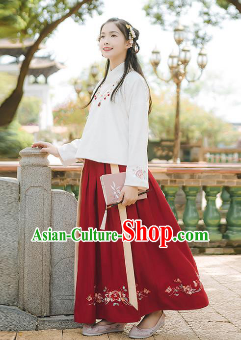 Asian China Ming Dynasty Palace Lady Embroidered Costume, Traditional Ancient Chinese Elegant Hanfu Blouse and Skirt for Women