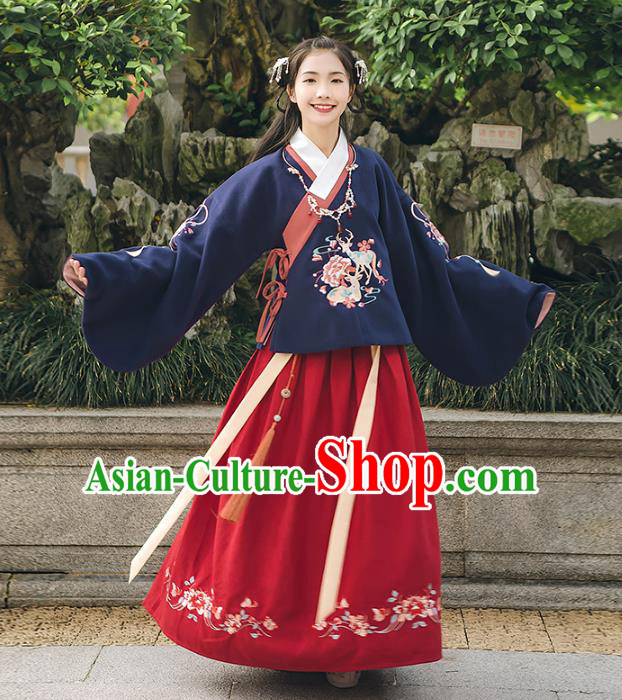 Asian China Ming Dynasty Palace Lady Embroidered Costume, Traditional Ancient Chinese Princess Elegant Hanfu Navy Sleeve Placket Blouse for Women