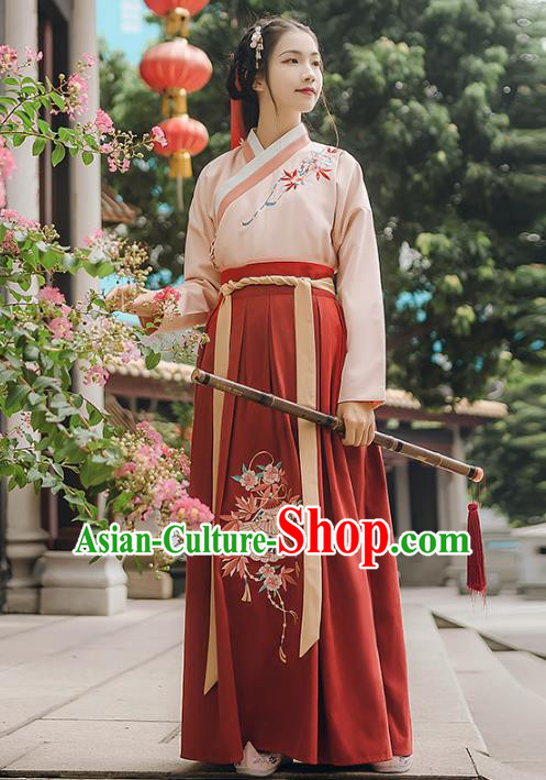 Asian China Ming Dynasty Palace Lady Embroidered Costume, Traditional Ancient Chinese Princess Elegant Hanfu Pink Blouse and Red Skirt for Women