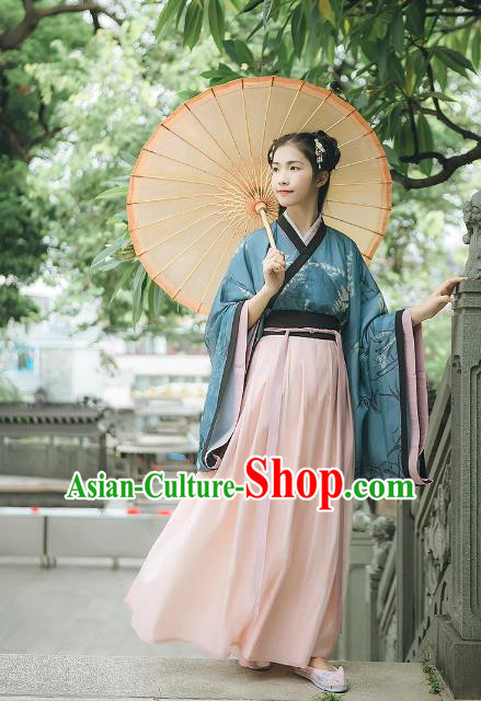 Asian China Jin Dynasty Palace Lady Embroidered Costume, Traditional Ancient Chinese Princess Elegant Hanfu Dress Clothing for Women