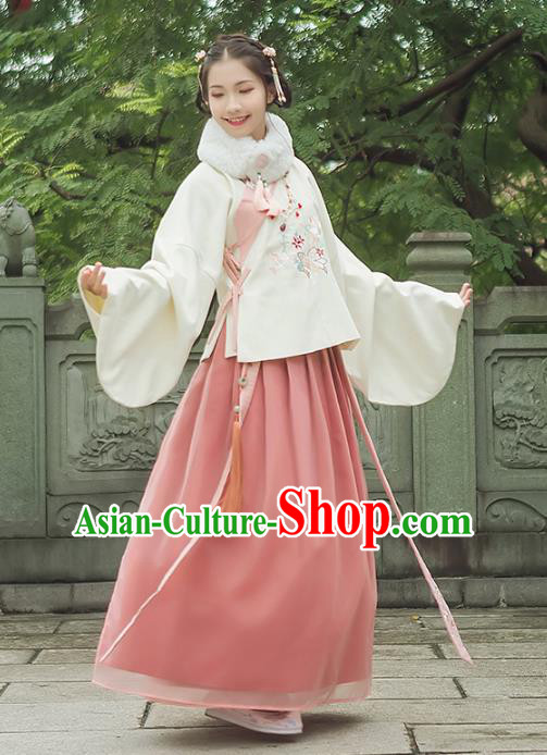 Asian China Ming Dynasty Palace Lady Embroidered Costume, Traditional Ancient Chinese Princess Elegant Hanfu Blouse and Skirt for Women