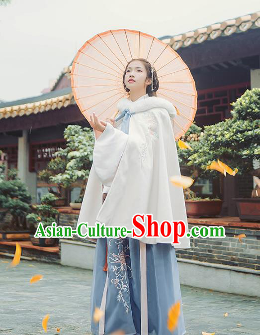 Asian China Ming Dynasty Palace Lady Costume Embroidered Cloak, Traditional Ancient Chinese Princess Elegant Hanfu Mantle for Women