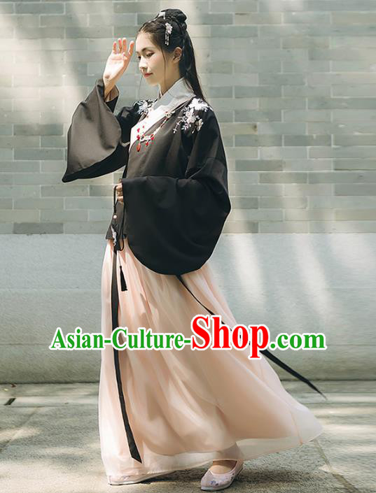 Asian China Ming Dynasty Palace Lady Costume, Traditional Ancient Chinese Princess Elegant Hanfu Embroidered Butterfly Blouse and Skirt for Women