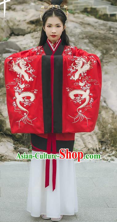 Asian China Han Dynasty Palace Lady Costume Red Curve Bottom, Traditional Ancient Chinese Princess Elegant Embroidered Hanfu Clothing for Women