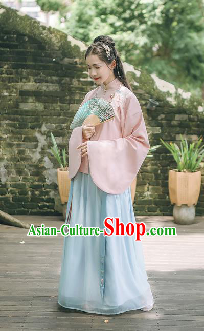 Asian China Ming Dynasty Princess Costume Embroidered Pink Blouse and Blue Skirt, Traditional Ancient Chinese Elegant Princess Hanfu Clothing for Women