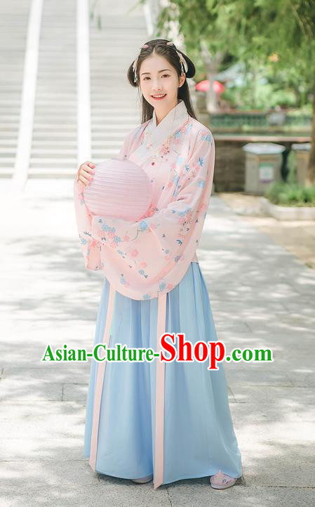 Asian China Ming Dynasty Princess Costume Printing Pink Blouse and Blue Skirt, Traditional Ancient Chinese Elegant Princess Hanfu Clothing for Women