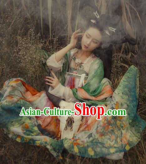 Asian China Tang Dynasty Palace Lady Costume, Traditional Ancient Chinese Imperial Concubine Elegant Hanfu Printing Dress for Women