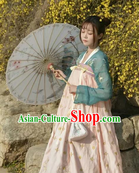 Asian China Tang Dynasty Court Lady Embroidered Costume, Traditional Ancient Chinese Princess Elegant Hanfu Dress Clothing for Women