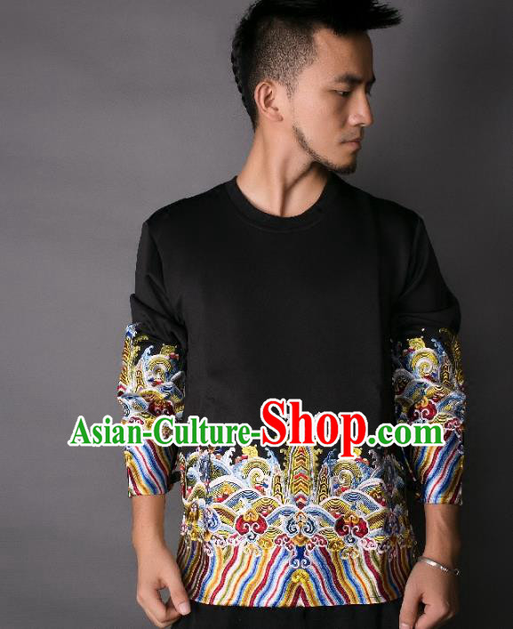 Asian China National Costume Embroidery Black Sweater, Traditional Chinese Tang Suit Hoodie Clothing for Men