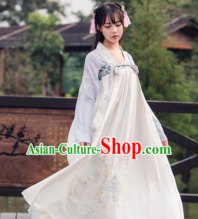 Asian China Tang Dynasty Young Lady Embroidered Cardigan Costume, Traditional Ancient Chinese Princess Elegant Hanfu Dress Clothing for Women