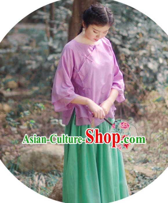 Asian China National Costume Slant Opening Purple Silk Hanfu Qipao Shirts, Traditional Chinese Tang Suit Cheongsam Blouse Clothing for Women