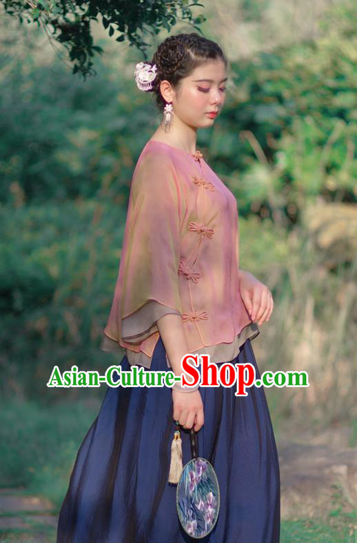 Asian China National Costume Pink Silk Hanfu Qipao Shirts Upper Outer Garment, Traditional Chinese Tang Suit Cheongsam Blouse Clothing for Women