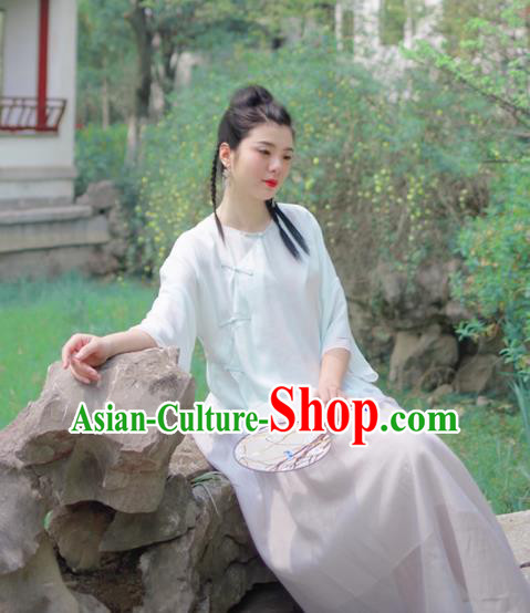 Asian China National Costume Light Blue Silk Hanfu Qipao Shirts Upper Outer Garment, Traditional Chinese Tang Suit Cheongsam Blouse for Women