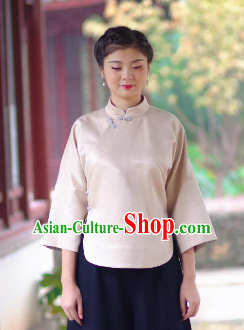 Asian China National Costume Slant Opening Woolen Hanfu Blouse, Traditional Chinese Tang Suit Cheongsam Shirts Upper Outer Garment Clothing for Women