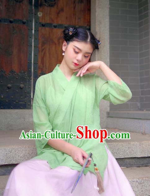 Asian China National Costume Hanfu Slant Opening Green Silk Qipao Blouse, Traditional Chinese Tang Suit Cheongsam Shirts Clothing for Women