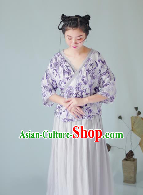 Asian China National Costume Hanfu Slant Opening Purple Silk Qipao Blouse, Traditional Chinese Tang Suit Cheongsam Shirts Clothing for Women