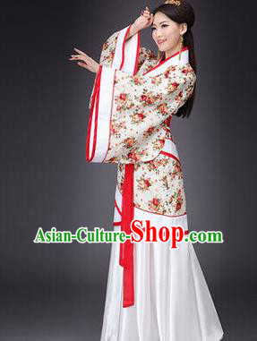 Asian China Ancient Han Dynasty Palace Lady Dance Costume, Traditional Chinese Hanfu Imperial Concubine Dress Clothing for Women