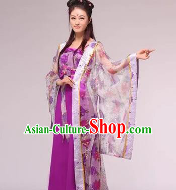 Asian China Ancient Tang Dynasty Imperial Consort Fairy Costume, Traditional Chinese Empress Embroidered Purple Tailing Dress Clothing for Women