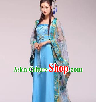 Asian China Ancient Tang Dynasty Imperial Consort Fairy Costume, Traditional Chinese Empress Embroidered Blue Tailing Dress Clothing for Women