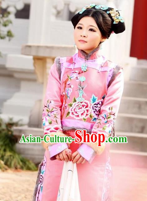 Traditional Ancient Chinese Imperial Consort Costume, Chinese Qing Dynasty Manchu Lady Embroidered Clothing for Women