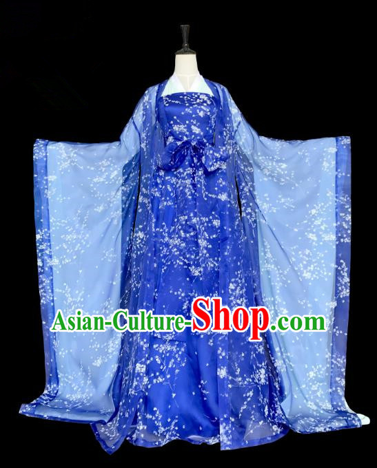 Traditional Ancient Chinese Imperial Consort Costume, Elegant Hanfu Clothing Chinese Tang Dynasty Empress Blue Clothing for Women