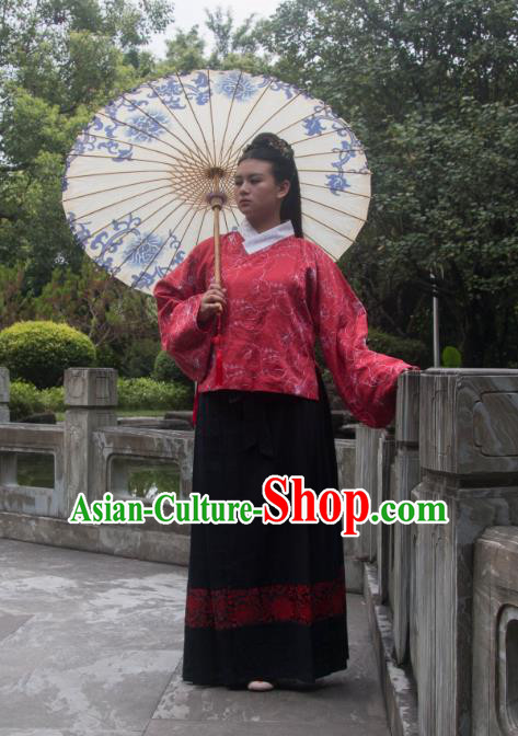 Traditional Ancient Chinese Imperial Consort Costume Red Blouse and Skirt, Asian China Ming Dynasty Imperial Empress Embroidered Clothing for Women