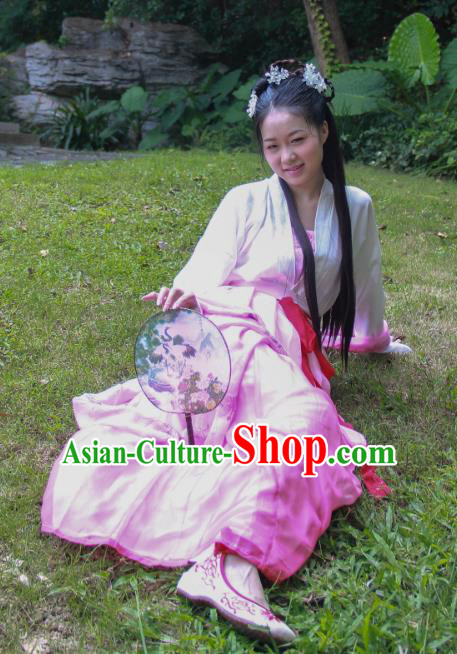 Traditional Ancient Chinese Imperial Princess Hanfu Costume, Asian China Tang Dynasty Palace Lady Printing Dress Clothing for Women