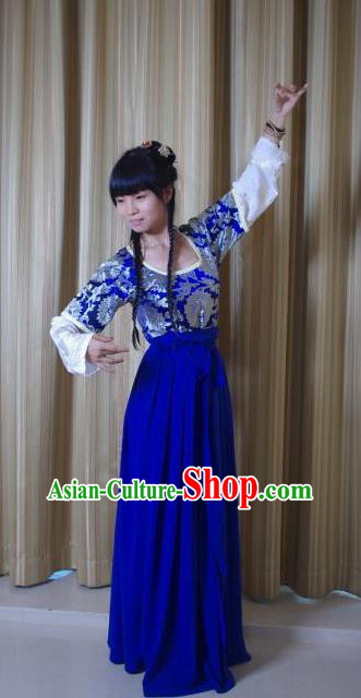 Traditional Chinese Ancient Young Lady Costume Complete Set, Asian China Song Dynasty Princess Blue Clothing for Women