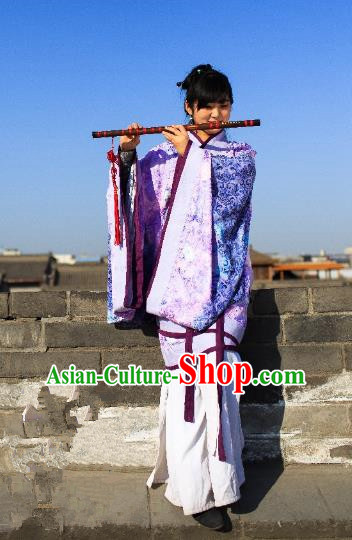 Traditional Chinese Ancient Palace Lady Costume Purple Curve Bottom, Asian China Han Dynasty Imperial Concubine Hanfu Dress Clothing for Women