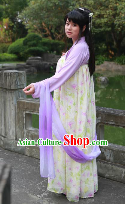 Traditional Ancient Chinese Imperial Princess Hanfu Printing Costume, Asian China Tang Dynasty Palace Lady Yellow Dress Clothing for Women