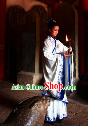 Traditional Chinese Ancient Palace Lady Costume Blue and White Porcelain Curve Bottom, Asian China Han Dynasty Imperial Concubine Hanfu Dress Clothing for Women