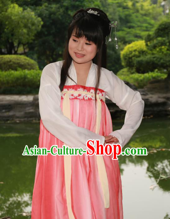 Traditional Ancient Chinese Princess Hanfu Costume, Asian China Tang Dynasty Palace Lady Pink Dress Clothing for Women