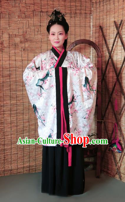 Traditional Chinese Ancient Young Lady Costume Printing Pink Curve Bottom, Asian China Han Dynasty Imperial Concubine Hanfu Clothing for Women