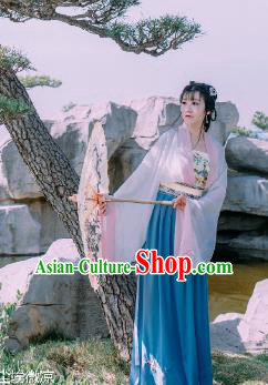 Traditional Chinese Ancient Palace Lady Costume, Asian China Tang Dynasty Imperial Princess Hanfu Blue Dress Clothing for Women