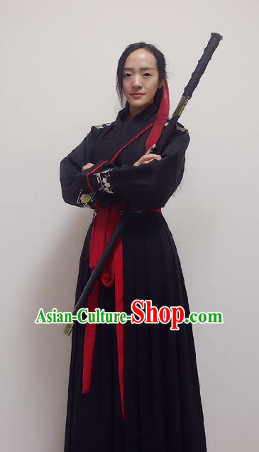 Traditional Ancient Chinese Swordsman Hanfu Costume Embroidered Black Robe, Asian China Tang Dynasty Imperial Guards Clothing for Women