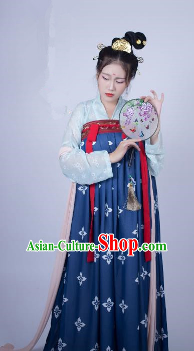 Traditional Chinese Ancient Costume Palace Lady Embroidered Blue Slip Skirt, Asian China Tang Dynasty Imperial Princess Hanfu Clothing for Women