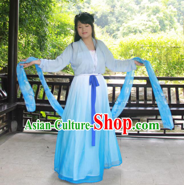 Traditional Ancient Chinese Princess Hanfu Costume, Asian China Tang Dynasty Palace Lady Blue Dress Clothing for Women