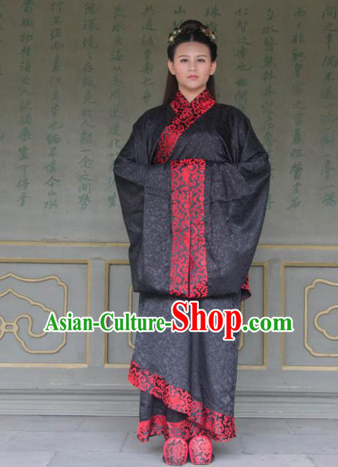 Traditional Ancient Chinese Princess Hanfu Costume Black Curve Bottom, Asian China Han Dynasty Palace Lady Dress Clothing for Women