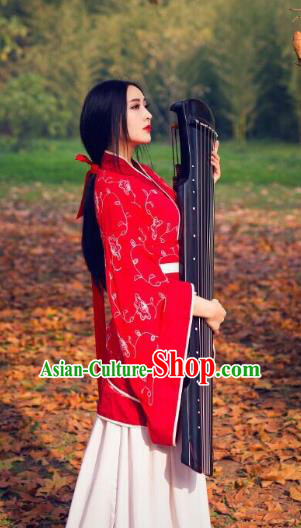Traditional Chinese Ancient Palace Lady Costume Red Embroidered Curve Bottom, Asian China Han Dynasty Imperial Concubine Hanfu Dress Clothing for Women