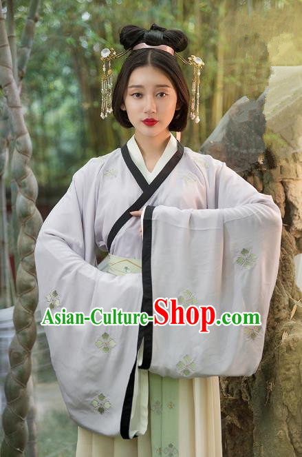 Traditional Ancient Chinese Palace Lady Hanfu Costume Purple Blouse and Skirt, Asian China Ming Dynasty Princess Clothing for Women