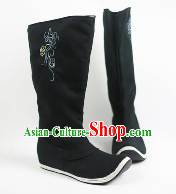 Traditional Ancient Chinese Hanfu Black Embroidered Boots, Asian China Tang Dynasty Minister Shoes for Men