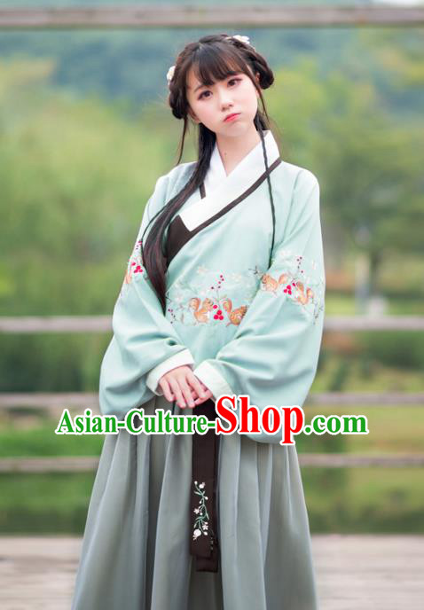 Traditional Ancient Chinese Palace Lady Hanfu Costume Embroidered Blouse and Skirt, Asian China Ming Dynasty Imperial Princess Clothing for Women
