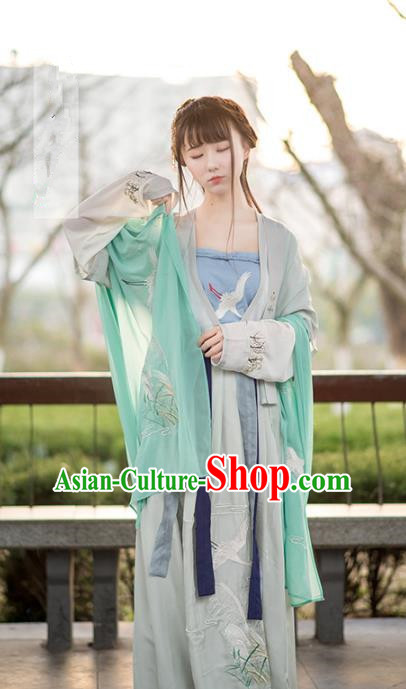 Traditional Ancient Chinese Young Lady Embroidered Green Costume Complete Set, Asian China Tang Dynasty Princess Hanfu Clothing for Women