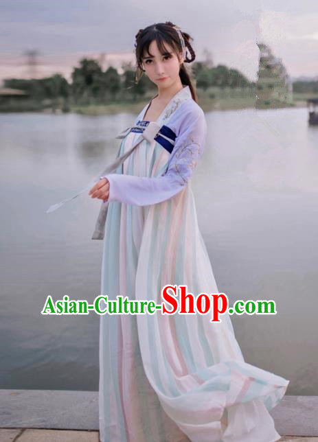 Traditional Ancient Chinese Palace Lady Hanfu Costume Purple Embroidered Blouse and Skirt, Asian China Tang Dynasty Princess Dress Clothing for Women